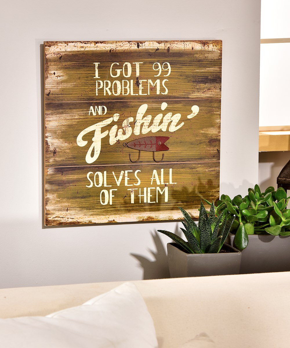 MDF Fishing Sentiment Design Wall Sign