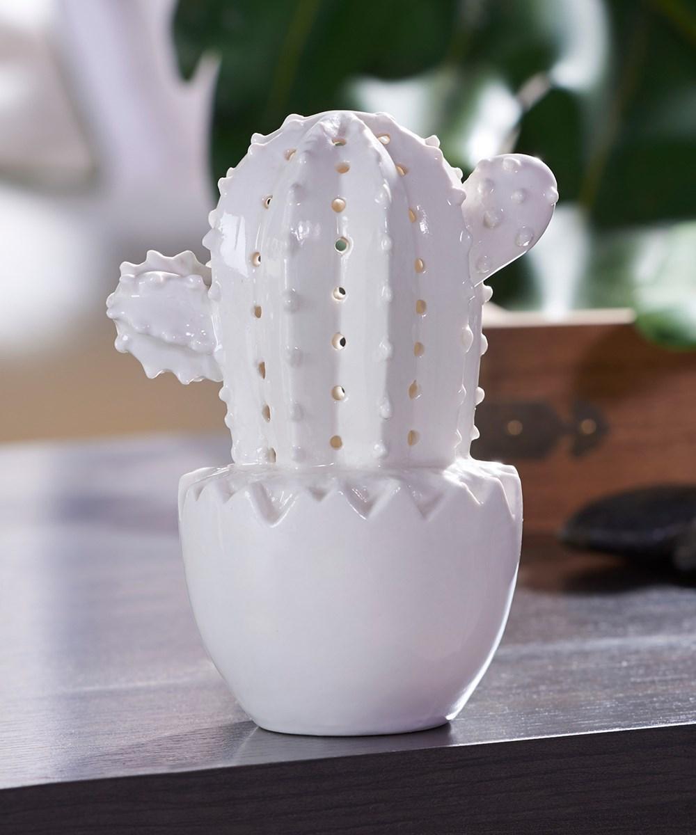 Ceramic Cactus W/Led Light