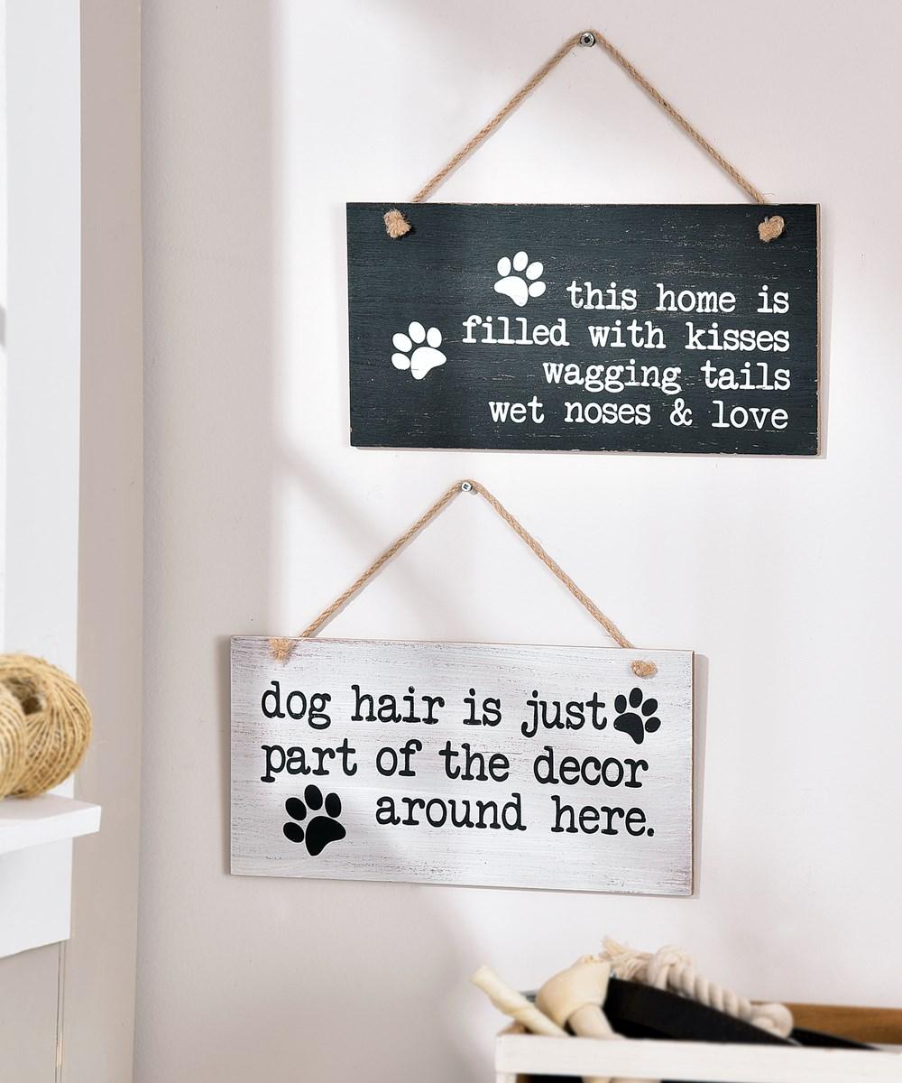 MDF Dog Sentiment Design Wall Sign, 2/Asst.