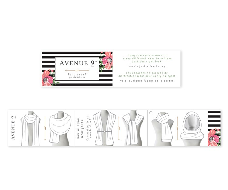Avenue 9 Tropical Vibe, Flamingo Couple Design Pattern Scarf, 4 Asst.