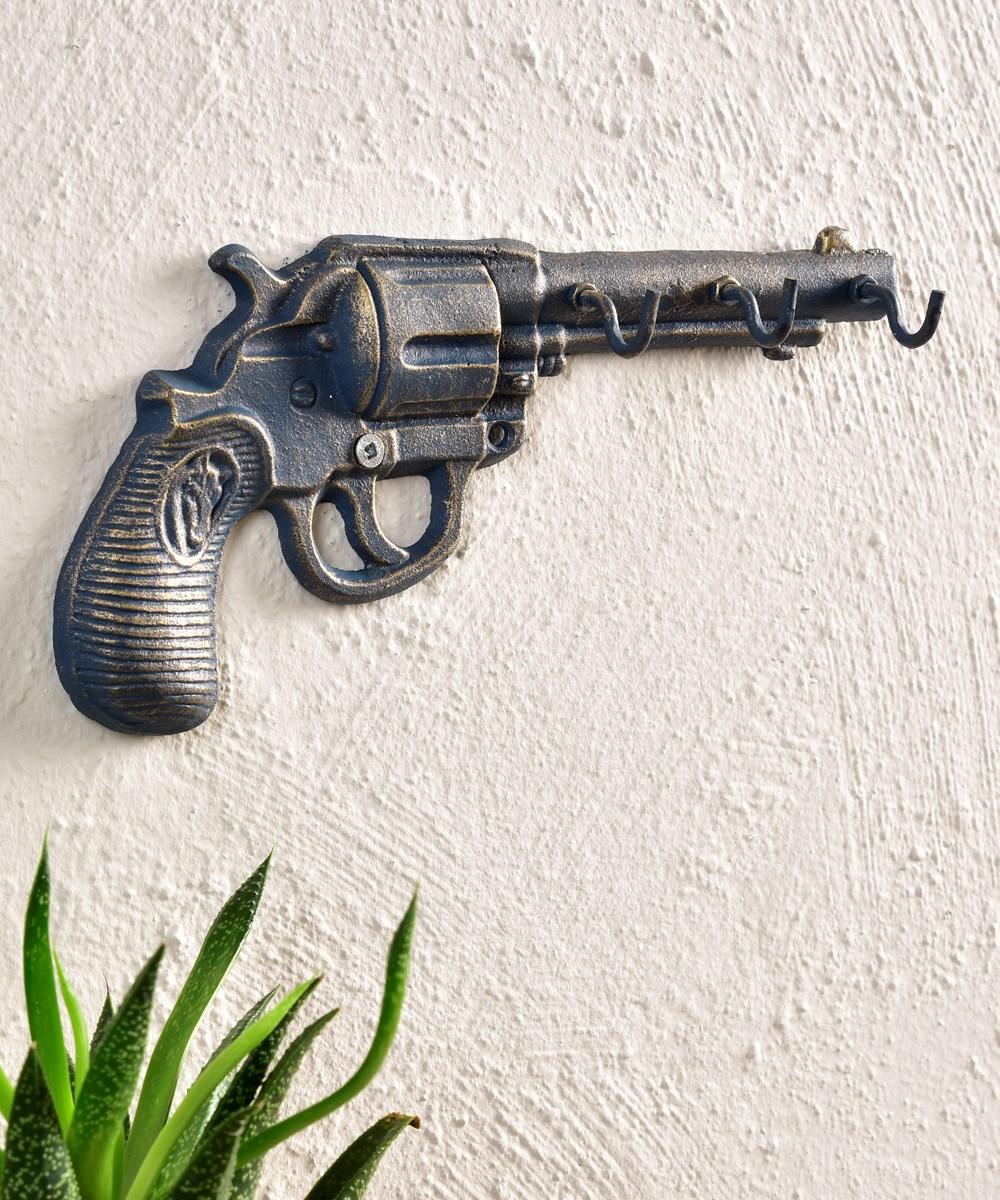 Hand Gun Design Wall Decor w/3 Hooks