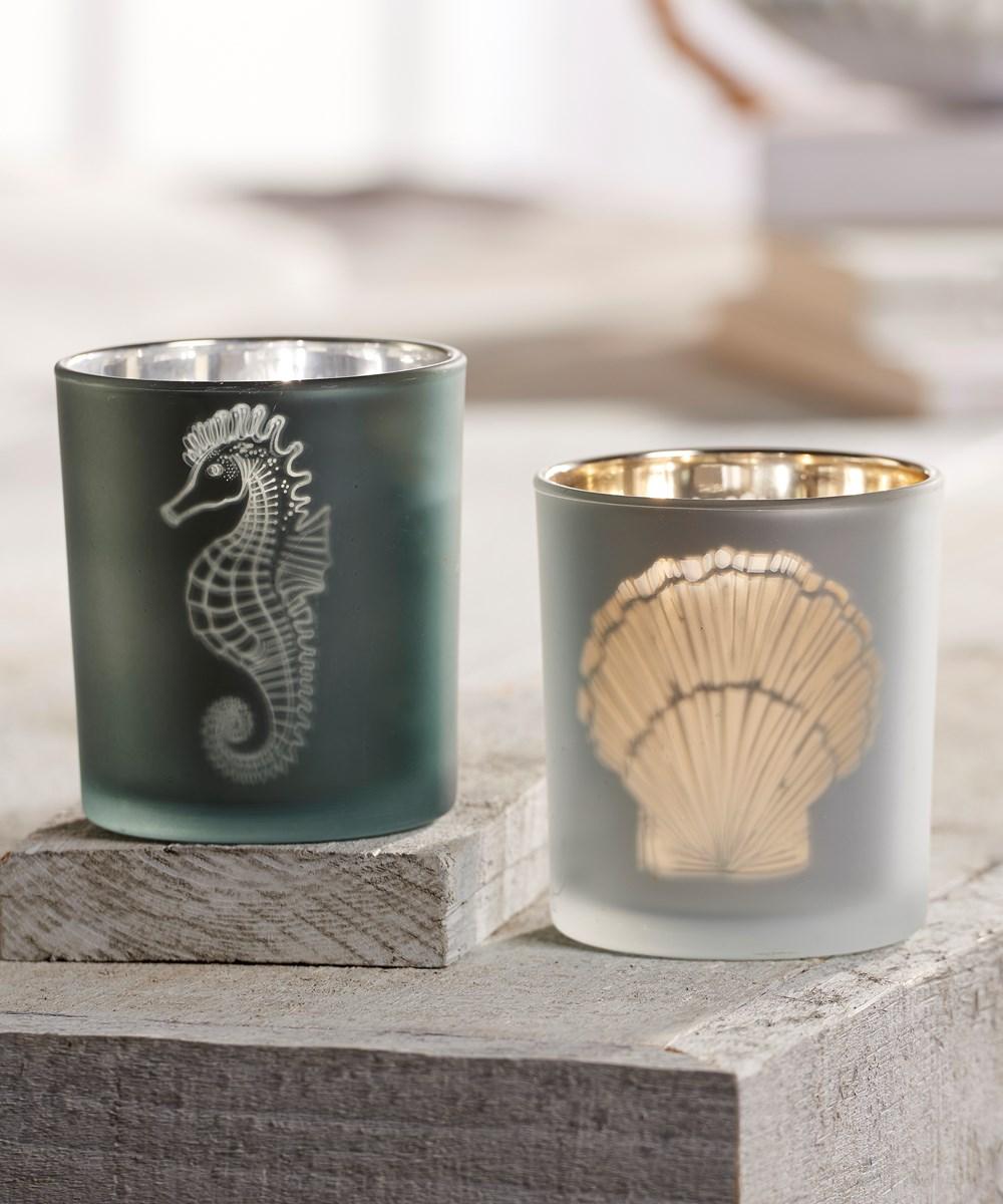 Nautical Design Tealite Candle Holder, 2 Asst.