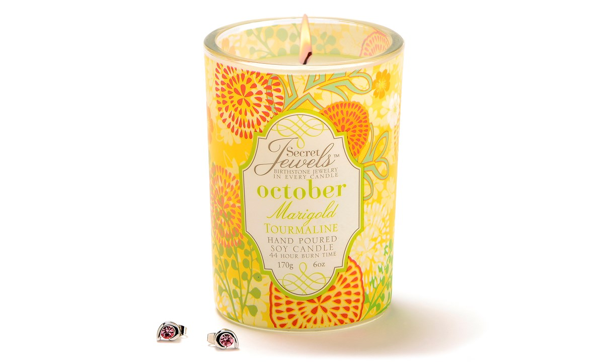 Birthstone Secret Jewels 6oz. Candle Jar, October