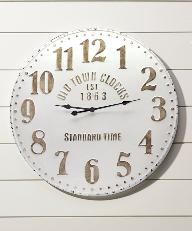 Antique White Metal Wall Clock