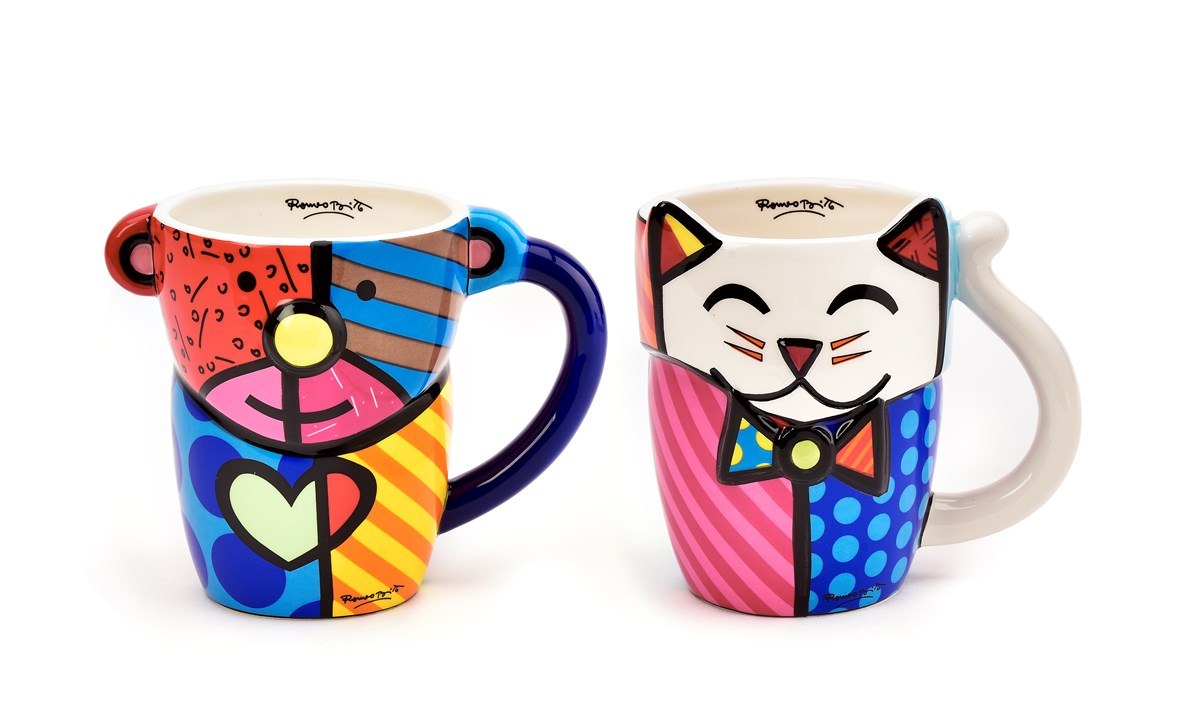 Romero Britto Animal Design Mugs, 2 Asst.