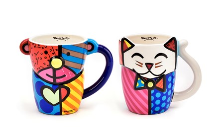 Romero Britto Animal Design Mugs, 2 Asst.
