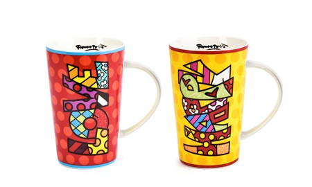 Romero Britto Bone China Mug, 2 Asst.