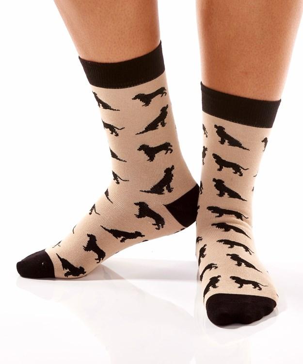 Bow Wow, Women's Crew Sock, Black Labrador Retriever Dog Design