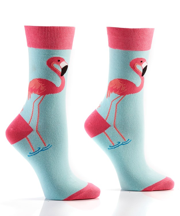 Island Vibe, Women's Crew Sock, Pink Flamingo Design