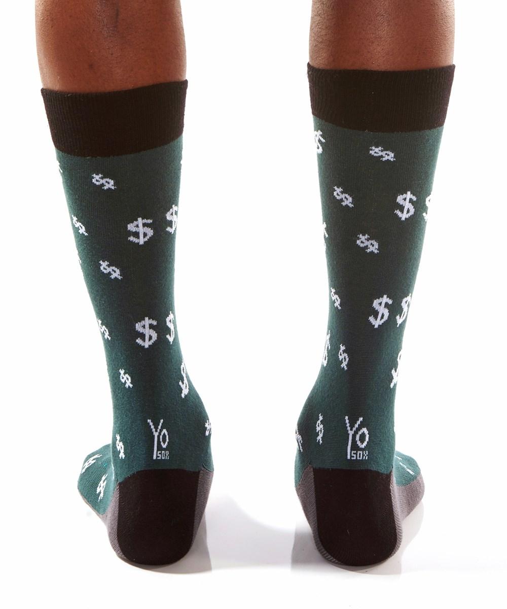 Big Bucks, Men's Crew Sock, Grey Dollar Symbol Design