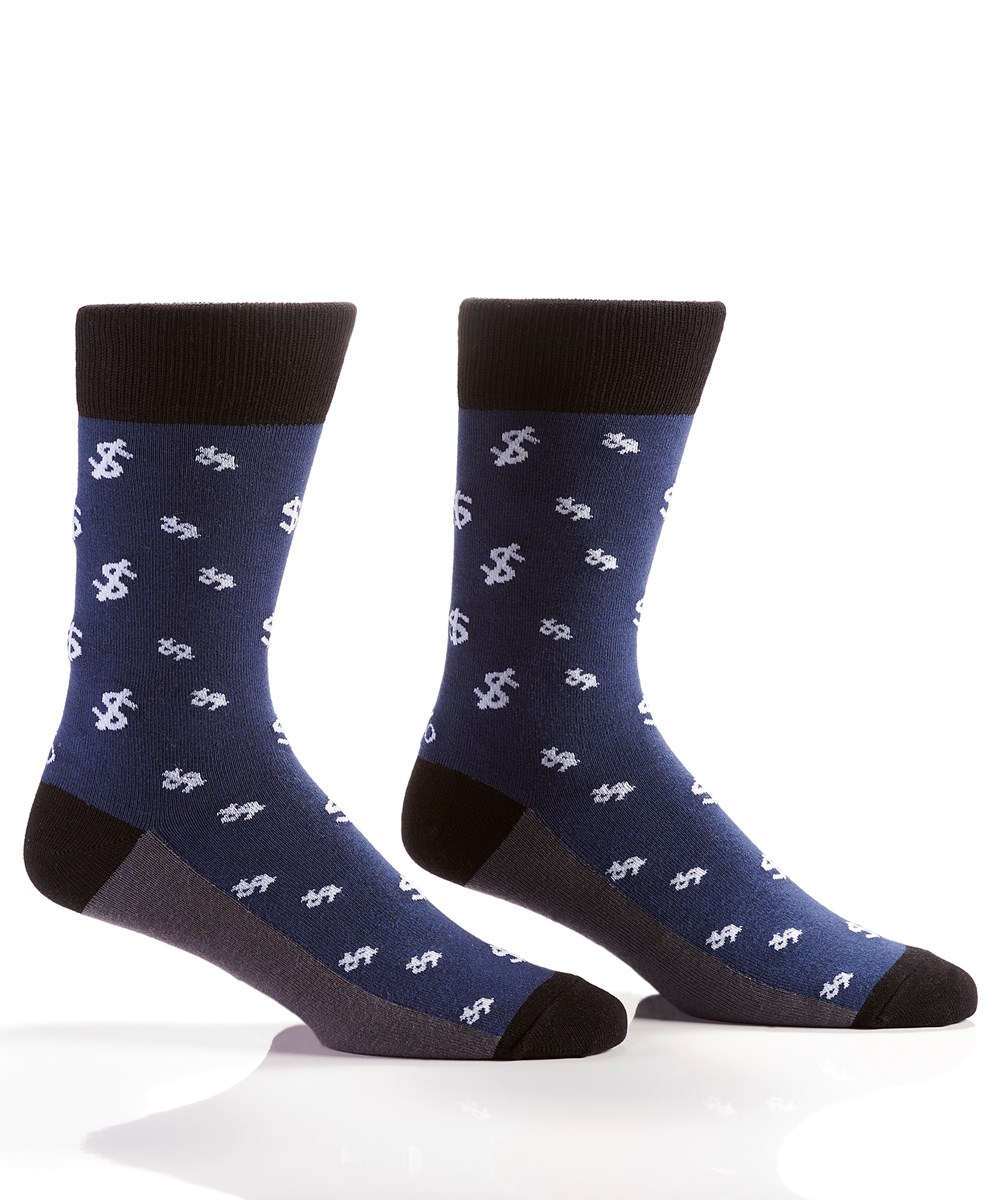 Cha-Ching, Men's Crew Sock, Blue, Dollar Symbol Design