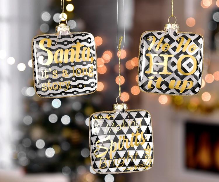 Square Ornaments, 3 Asst.