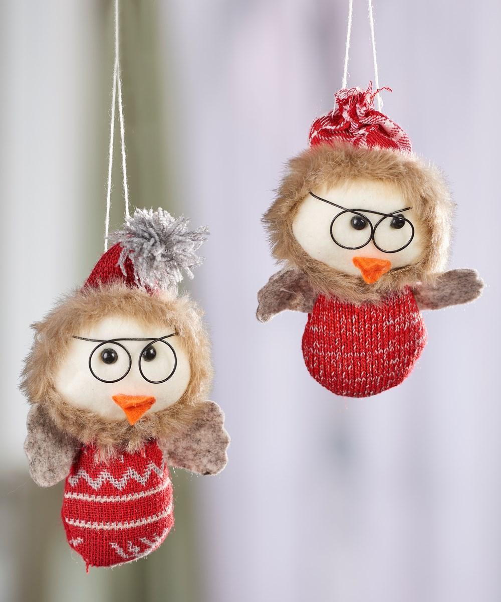 Fabric Bird Design Ornaments, 2 Asst. w/Displayer