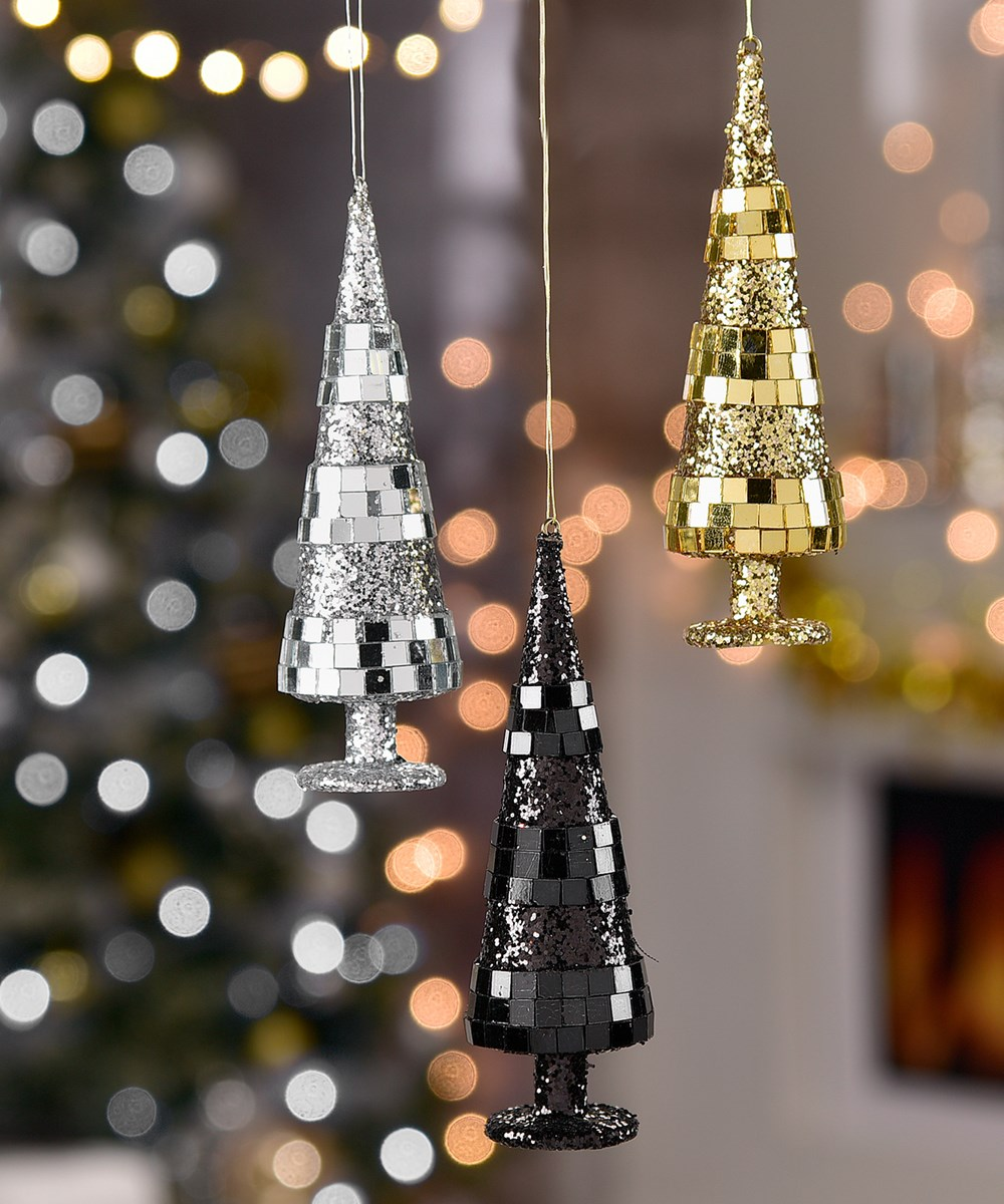Christmas Tree Design Ornaments, 3 Asst.