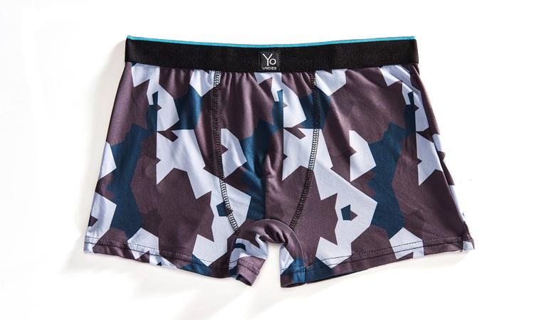 Yo Undies Men's Trunk Style Briefs, Camo  & Blue - S