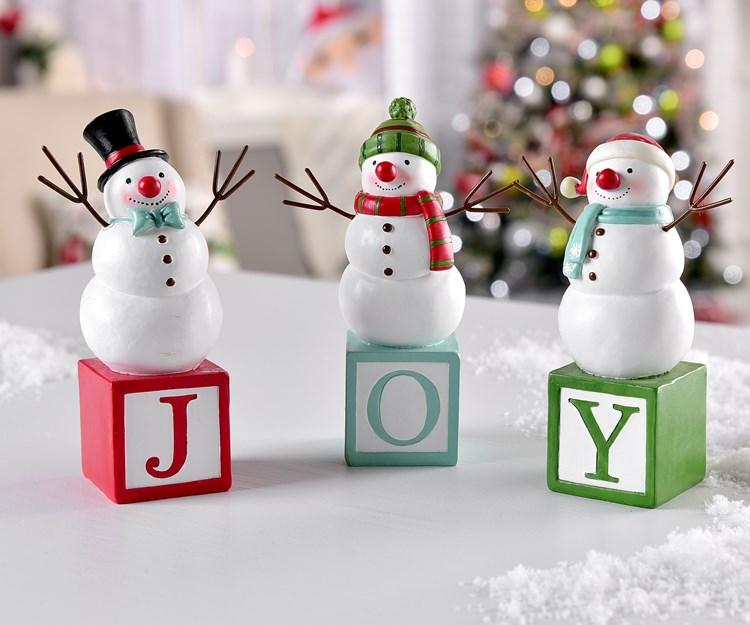 Snowmen on Letter Blocks Design Figurines, 3 Asst.