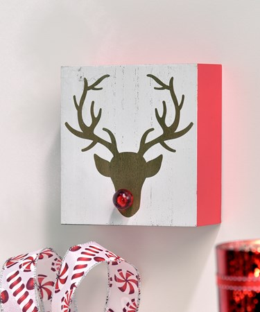 LED Lighted Rudolph Design Wall Plaque