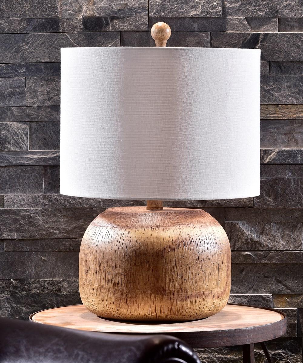 Wood Look Resin Table Lamp w/Shade