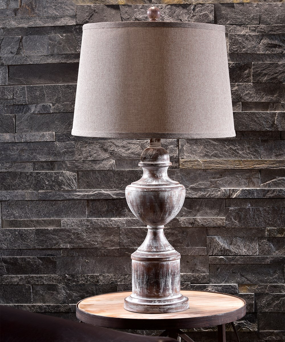 Wood Look Resin Table Lamp w/Shade