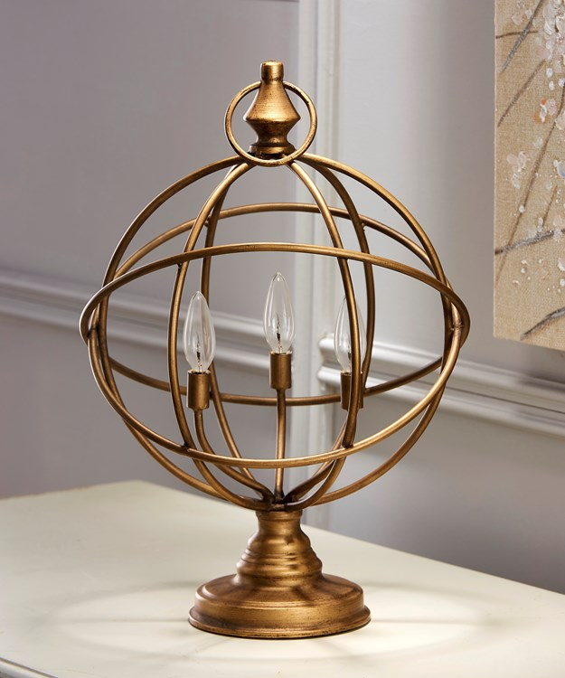 LED Gold Ball Table Light on Stand