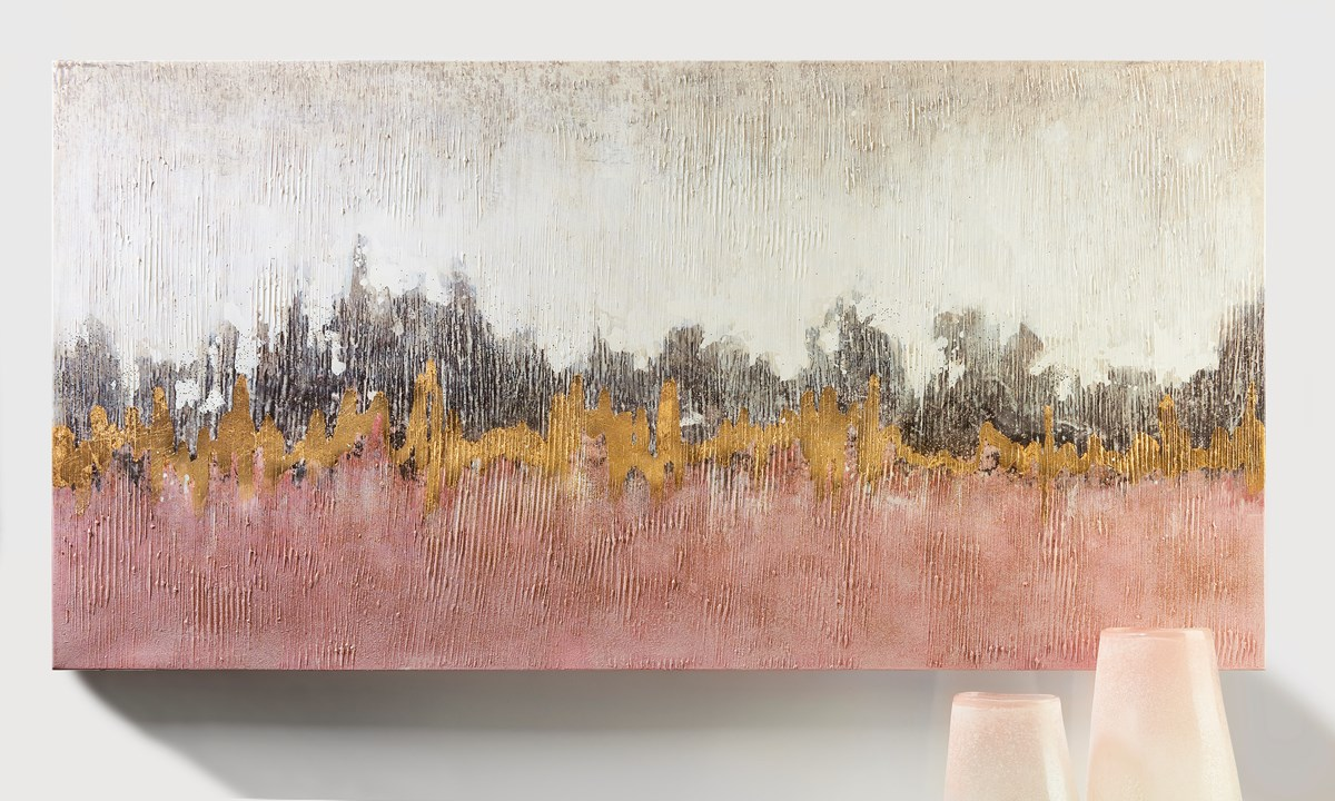 Canvas Oil Print - Gold/White/Pink