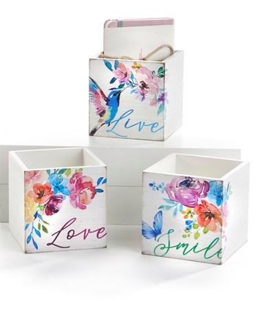 FloralStorageBoxwSentiment3Asst