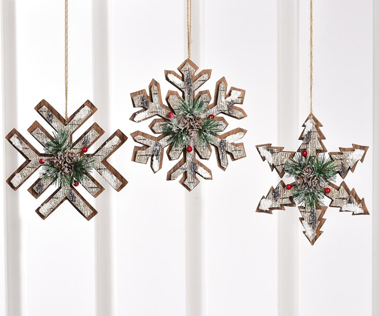 Snowflake Design Ornaments, 3 Asst.