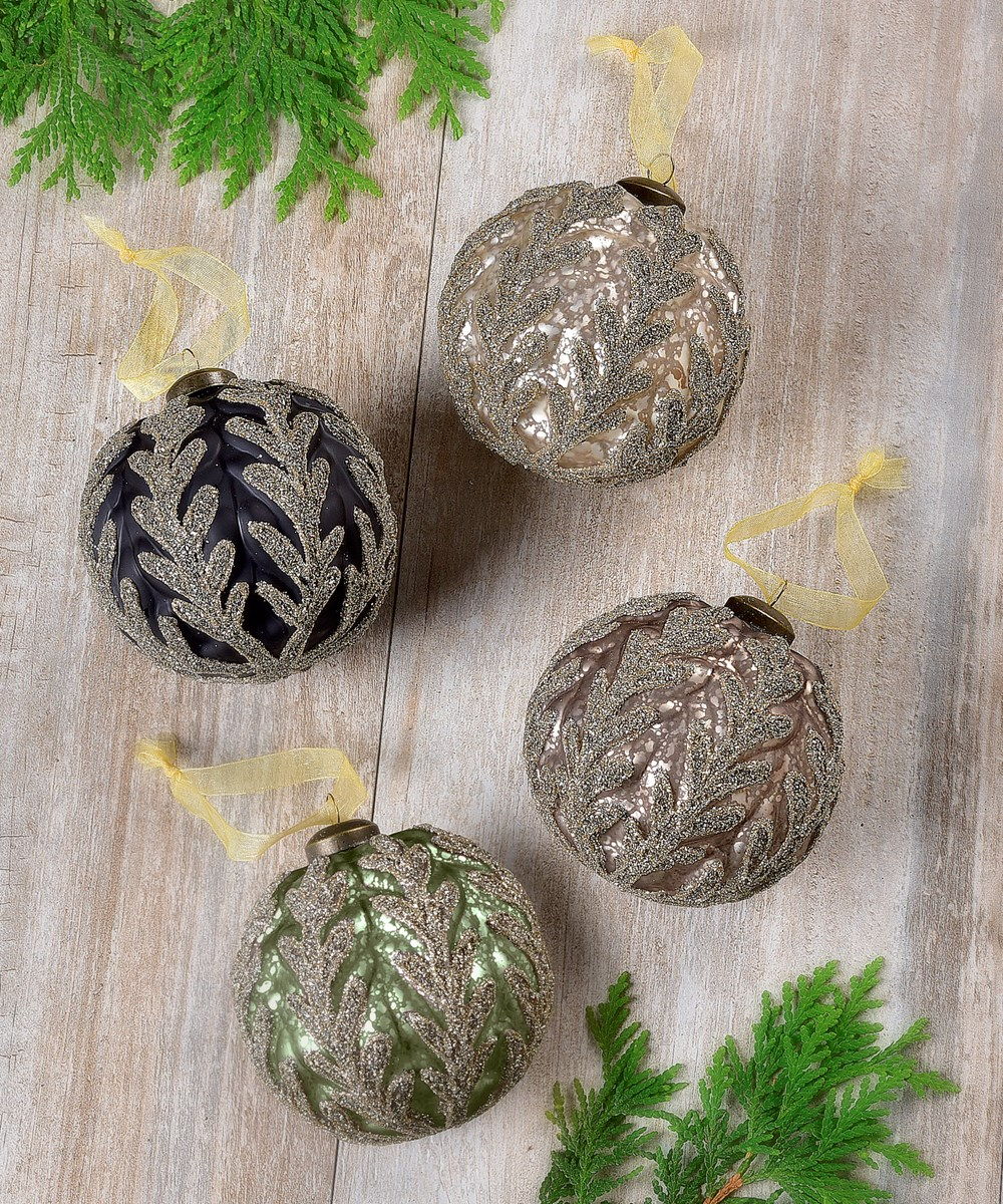Leaf Design Ball Ornaments, 4 Asst.