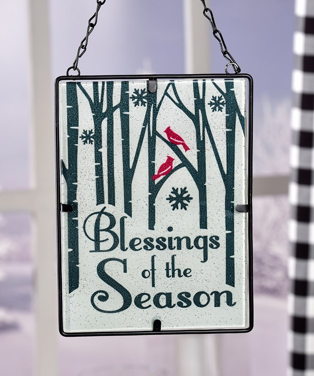 Stained Glass Design Suncatcher - Blessings
