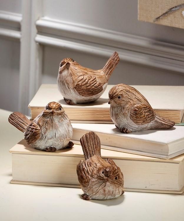 Resin Wood Look Bird Table  Decor, 4 Asst.