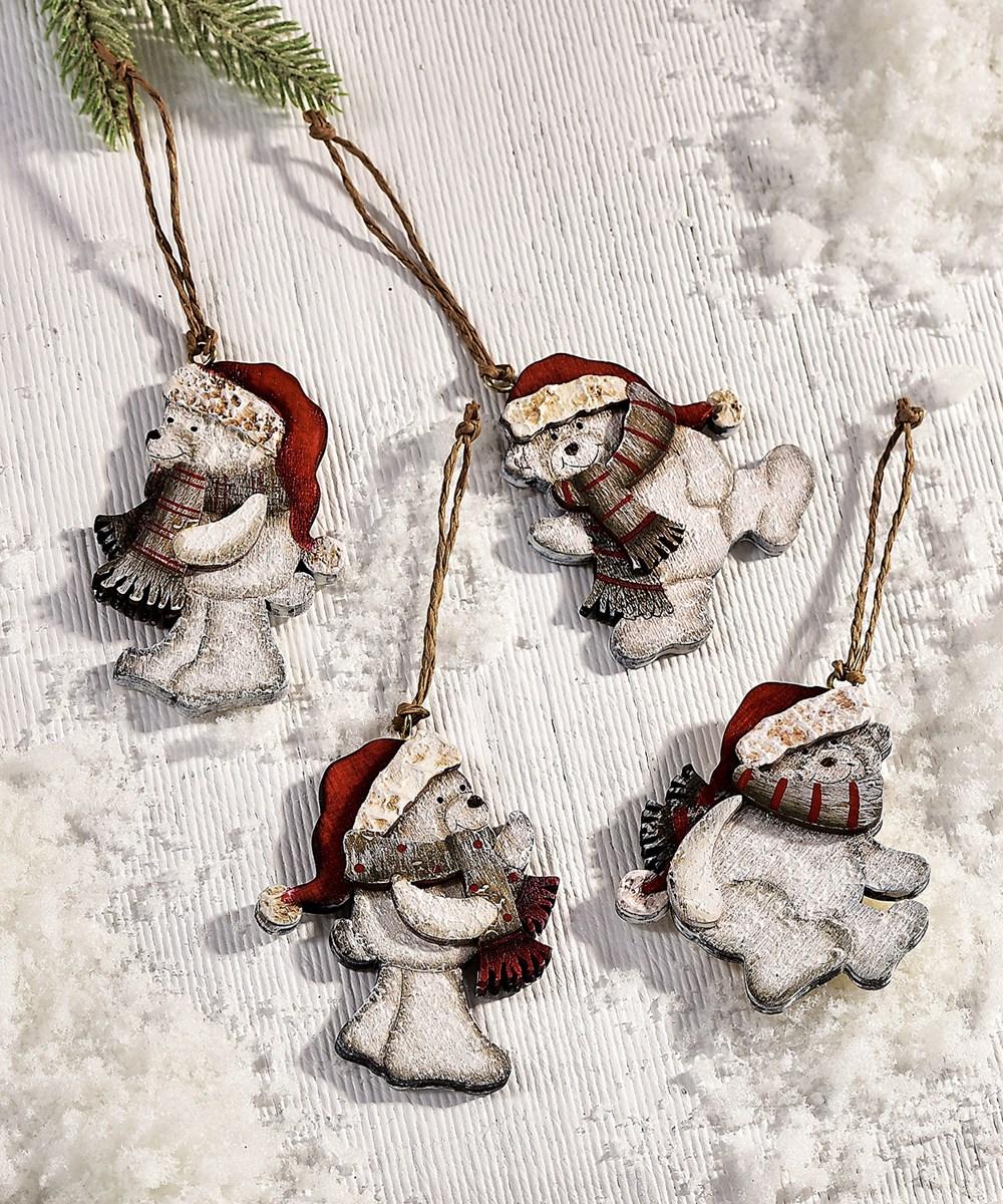 Polar Bear Design Ornaments, 4 Asst. w/PDQ