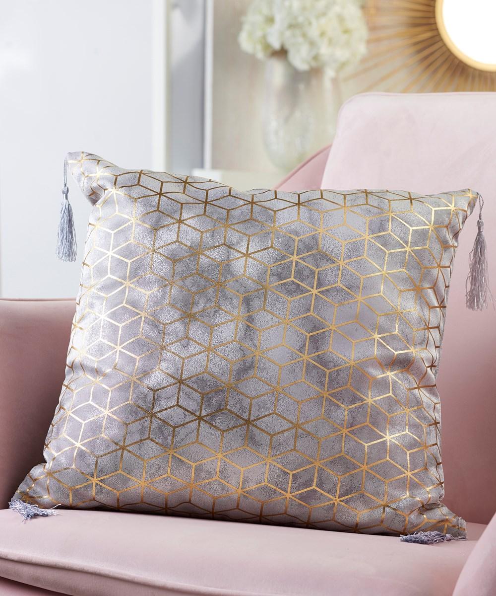 Polyester Pillow w/Foil Print & Tassels
