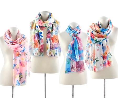 FloralPrintScarf4Asst