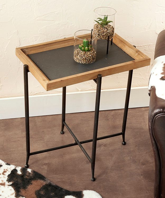 Wood & Slate Accent Table