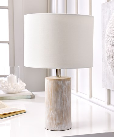 Log Design Lamp w/White Polyester Shade