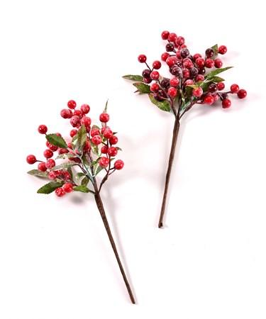 Foam/Wire Berry w/Leaf Pick, 2 Asst.