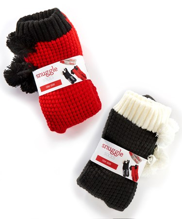 Fabric Snuggle Socks, 2 Asst.