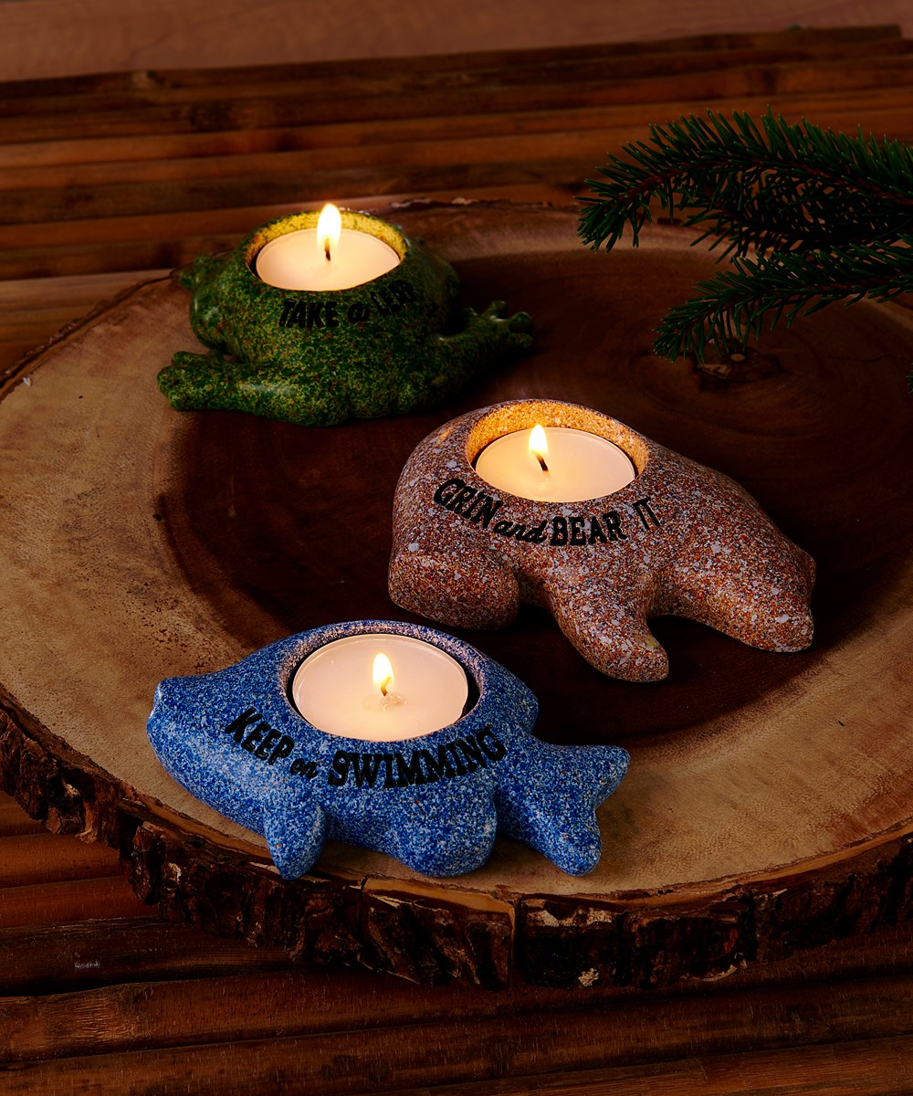 Polystone Animal Design Tealight Candle Holder, 3/Asst.