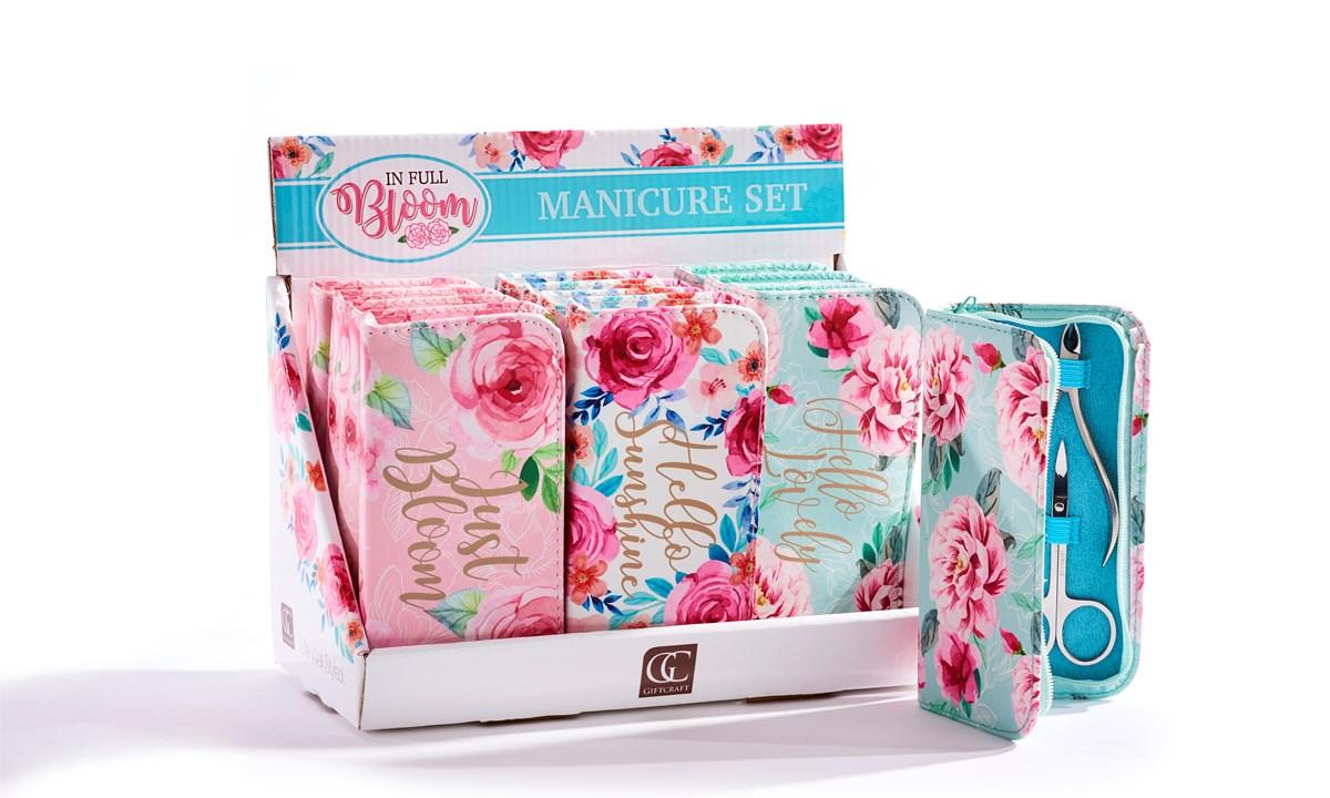 Floral Design Manicure Set, 3 Asst. w/Displayer