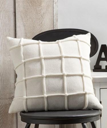White Pillow w/Raised Stripe Pattern