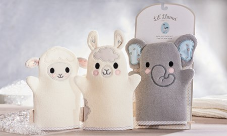 Lil' Llama Character Design Bath Mitts, 3 Asst.