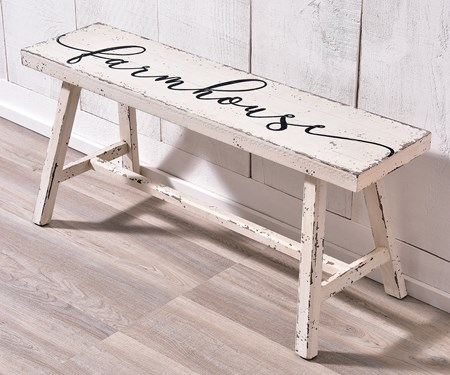 Wood Bench, White & Black