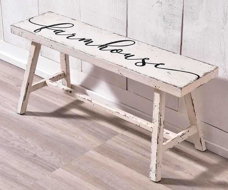 Wood Bench, White & Black