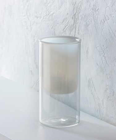 Large White/Clear Glass Candle Holder