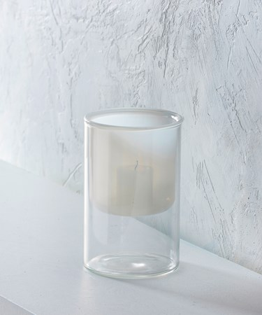 Medium White/Clear Glass Candle Holder