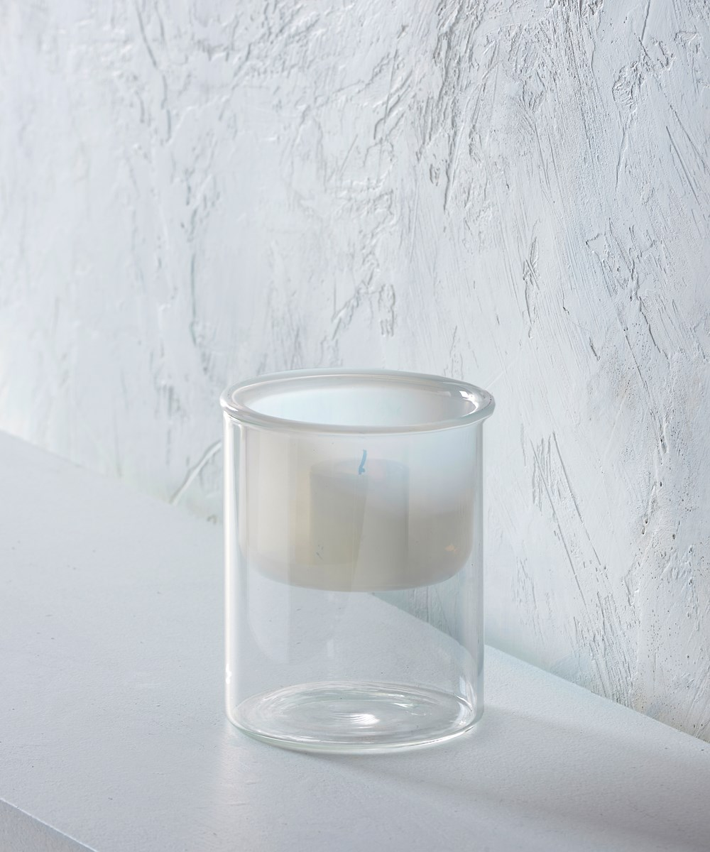 Small White/Clear Glass Candle Holder