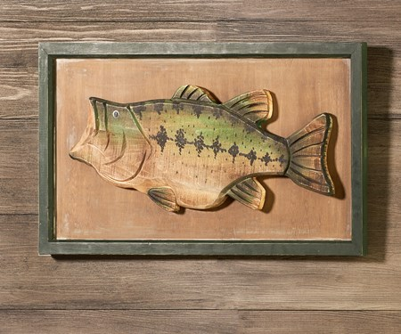 Wood-Carved Bass Wall  Decor