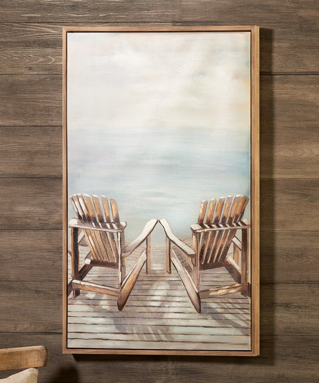 Deck Chairs on Dock Canvas Oil Print