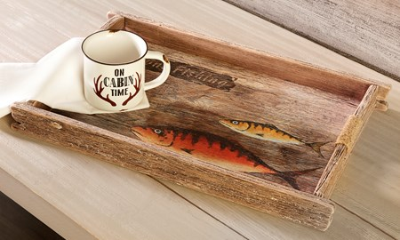 Wood Decorative Table Tray w/Fish Design