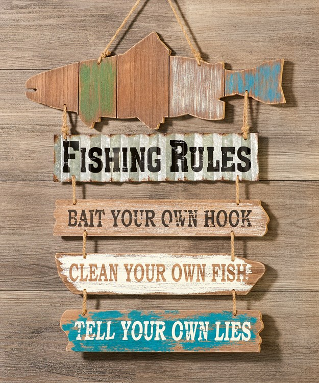 Wd/Mtl Wall Sign-Fishing Rules